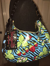 Betseyville by Betsey Johnson Strawberry Fields Blue Zebra Print Shoulder Bag