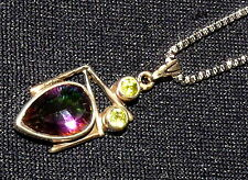 Chain + Pendant Rainbow Topaz with Peridot Silver Healing stone 2.2 g 24x11x5mm