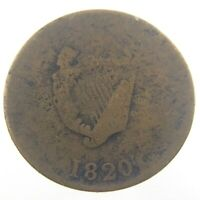 1820 Token Bust Harp Lower Bas Quebec Canada Breton 1012 Circulated S376