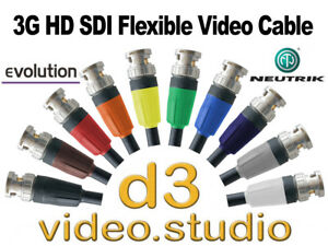 3G HD SDI Video Flexible Evolution 301-299 Cable with Neutrik BNC Plugs Live TV