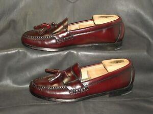 Cole Haan City men's burgundy leather moc toe slip on tassel loafers size 7 1/2D