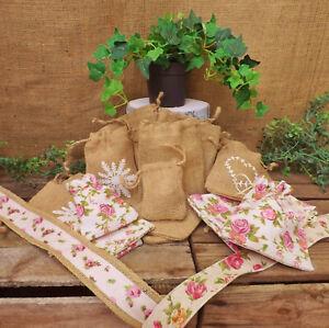 Jute Floral Rose Coton Lin Sacs Sac Soirée Pochette Cadeau Mariage Faveurs