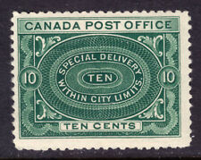 CANADA SPECIAL DELIVERY #E1 10c BLUE GREEN, 1898, F, MLH