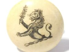 More details for antique bovine sheep bone family armorial livery stud button lion holding branch