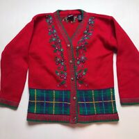 Gap Vintage Colorful Floral Embroidered Plaid Cardigan Sweater Size Medium A1352