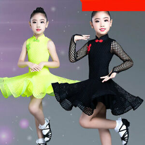 Kid Girls Latin Rumba Samba Dance Dress Ballroom Costume Competition Dancewear