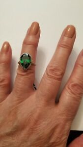 LOVELY 4.42 CT RUSSIAN EMERALD & DIAMOND 14KT SOLID YELLOW GOLD RING SIZE 7