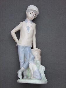 Boy with Dog - Lladro-style Porcelain Figurine 23cm