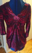 One World velvet red & purple lace insert fitted waist 3/4 sleeves tunic top P S