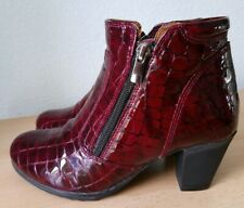Pavers Red Patent Leather croc effect ankle boots size 3/36