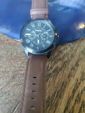 Fossil FS4885 Grant Chronograph Black Dial Brown Leather Men's Watch