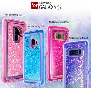 For Samsung Note 8 S8 / S9+ Plus Quicksand Liquid Glitter Heavy Duty Case Cover