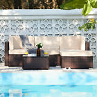 5pc Outdoor Furniture Set Sectional Sofa Table For Pool Garden More Walnut