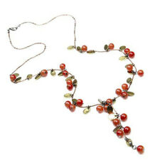 Red Cherry Necklace Long Chain Pendant Charm Jewelry Women Vintage Alloy Girls