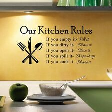 """""""Kitchen Rules"""" Mural Decal Quote Removable Wall Sticker Room Kitchen Home Decor"""