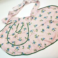 Vtg Half Apron Oval Shape Blue Floral Hostess Big Pocket Pink Green Housewife