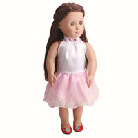 Handmade Pink Lace Doll Dress For 18 Inch Doll Girl Toy Party Clothes Nice