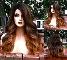 USA: Ombre Brown Blonde BABY HAIR Lace FRONT & Part Wavy HEAT OK Root Wig