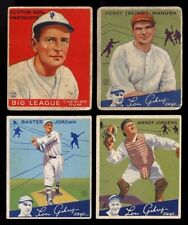 1933 1934 GOUDEY BASEBALL CARDS COLLECTION OF 4 WITH HEINIE MANUSH~HALL OF FAME