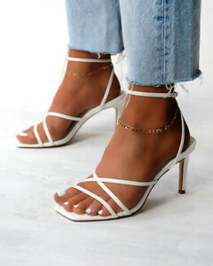 Women's Sandals Cross Strap Thin High Heel Open Toe Slingback Shoes Pump Party