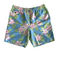 Polo Ralph Lauren Mens Designer 5 3/4 Inch Traveler Board Shorts Swim Floral Blu