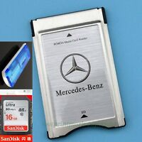 PCMCIA TO SD SDHC CARD Adapter for Mercedes-Benz+SanDisk 16G 80MB/s' Card+Reader