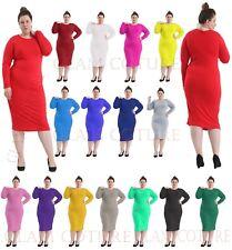 WOMENS LADIES LONG SLEEVE MIDI DRESS STRETCH BODYCON PLAIN JERSEY MAXI PLUS size