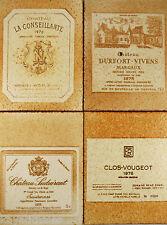 "Céramique ""étiquettes de Vins"", ROGER CAPRON VALLAURIS 50/60/70 Grands Crus(x4)"