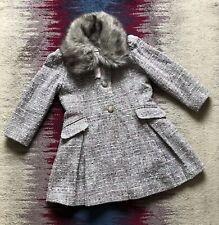 Monsoon Girls Grey Tweed Coat With Faux Fur Collar Age 5-6 Years Vgc