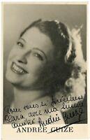 Belgian Film Actress Andrée Guize orig ca 1940 signed photograph