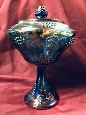 """Indiana Iridescent Blue """"Harvest Grape"""" Carnival Glass~ Large Covered Compote"""