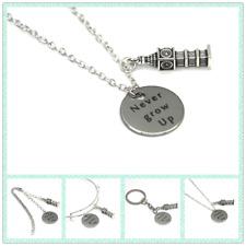 The Peter Pan quote Never Grow Up necklace bracelet keyring bookmark Big Ben