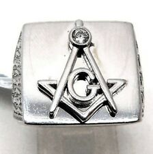 Sterling Silver Man's Masonic ring with Cz.