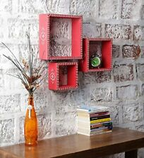 Hand Paint Carving Stylish Decorative Floating Wall Shelf Cherry Red