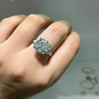 Certified 5ct White Round diamond  Engagement Ring in 14k Solid White Gold