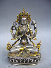 Tibet silver gold-plated statue of Tibetan Buddhism, the Buddha white tara