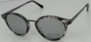 GUESS GF0305 56U Damen Granit Rahmen Silber Spiegel Linse Designer Sonnenbrille