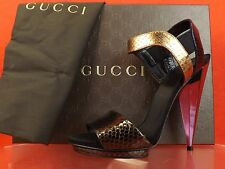 NIB GUCCI LIBERTY COLORBLOCK PYTHON MIRROR HEEL PLATFORM SANDALS 39 9 #347558