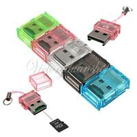 Mini USB 2.0/1.1 T-Flash/TF Micro SD/RS-MMC Memory Card Reader For Laptop