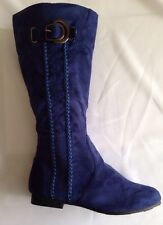 Women Casual Winter Faux Suede Flat Blue Boots Size 5.5