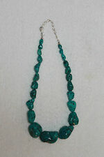 TURQUOISE BLUE NUGGET STONE NECKLACE WITH STERLING CLASP