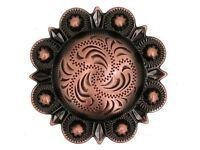 "Western Equestrian Tack Decor Black Copper Engraved  1 1/2"" Concho's Set of 6"