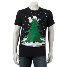 PEANUTS Snoopy CHRISTMAS TREE Doghouse Tee UGLY SWEATER T Shirt CHARLIE BROWN