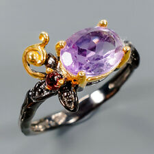 Handmade Natural Amethyst 925 Sterling Silver Ring Size 7.75/R110219