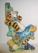 "Vintage Italian Majolica Happy Tiger - Morand Bros Beverage 11"" tall"