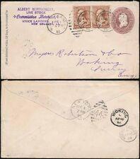 USA 1886 stationery 2C Uprated per Surrey Woking VILLAGGIO CD MONTGOMERY bestiame