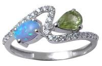 925 Sterling Silver Opal and Peridot Gemstone Ring Indian Fashion Women Jewelry
