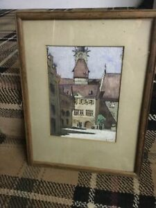 ORIGINAL WATER COLOUR PAINTING SWISS TOWN signed A. HITLER