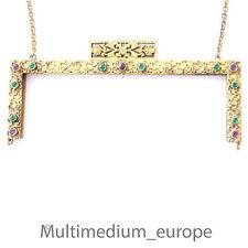Historismus Bügel für Abend Hand Tasche Metall vergoldet Ornamente um 1870 Glas