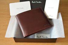 PAUL SMITH Hand Burnished burgundy & black leather bifold billfold wallet
